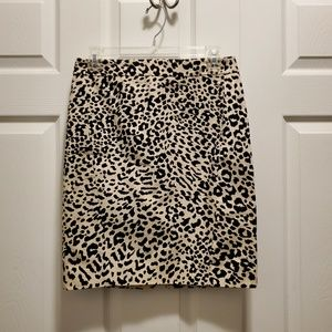 4 Petite Loft Animal Print Pencil Skirt